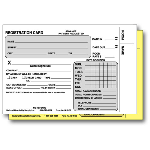 "2-part Carbonless Registration Card 4.25"" x 5.75""  500/pk."