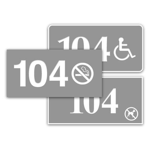 """1.5"""" x 3"""" In/Outdoor Door Number Sign w/Symbol"""