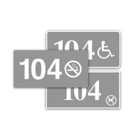 "1.5"" x 3"" In/Outdoor Door Number Sign w/Symbol"