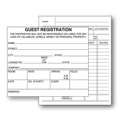 two sided guest registration cards lodgmate. Black Bedroom Furniture Sets. Home Design Ideas