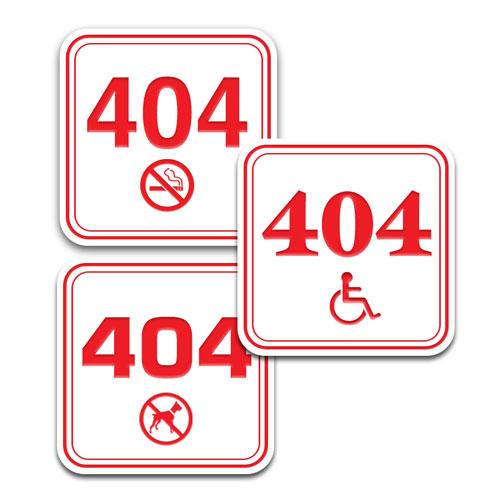 """4"""" x 4"""" Deluxe Outdoor Door Number Sign w/Symbol"""