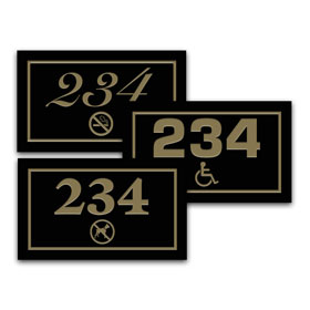 "3"" x 5"" Deluxe Outdoor Door Number Sign w/Symbol"
