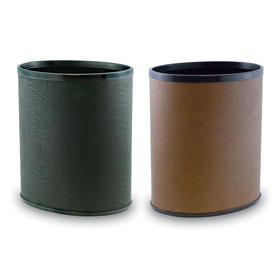 "Premium 12"" High Leatherette Wastebaskets"