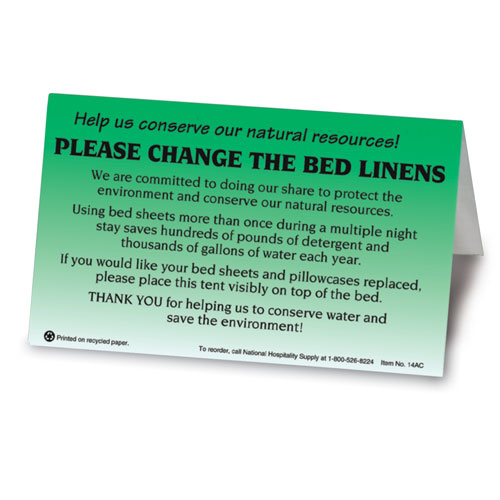Change Linens Bedroom Tent Signs 100 Pk Lodgmate