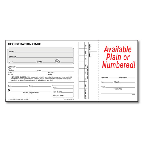 "Registration Card With Oversized Receipt 4"" x 8.5"""