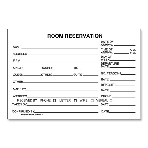 Hotel room reservation forms lodgmate room reservation form 4 x 6 altavistaventures Choice Image