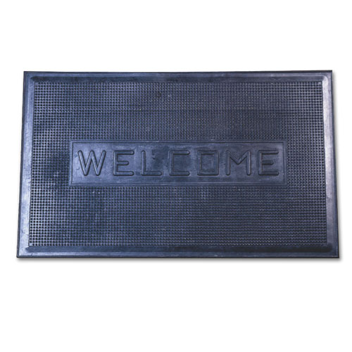 "18"" x 30"" Rubber Welcome Mat Black"